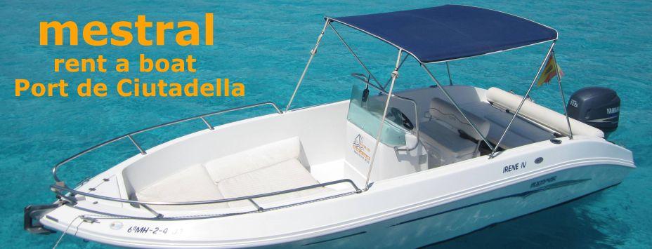 mestral rent a boat Menorca